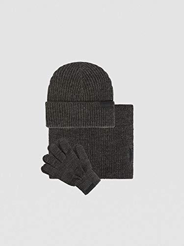 Trussardi Jeans Set van wolmengsel met muts sjaal en handschoenen heren grijs smoke
