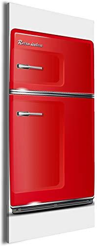 Wallario XXL Leinwandbild Roter Kühlschrank - 60 x 150 cm Brillante lichtechte Farben, hochauflösend, verzugsfrei