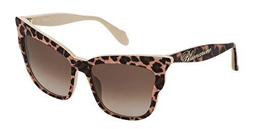 Blumarine occhiali da sole edizione limitata Giulia De Lellis SBM749 (leopardato lucido, marrone sfumato)