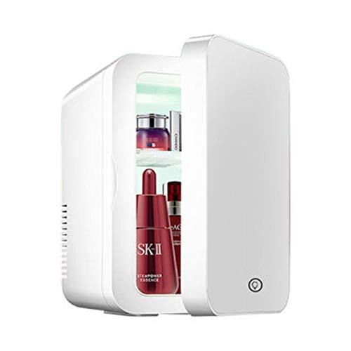 Mini Frigo 8 litri di bellezza Frigo, 2 in 1 trucco dello specchio Skincare Frigorifero con luce a LED, portatile compatto del dispositivo di raffreddamento dello scaldino del Mini Frigo for la camera