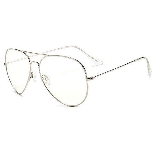 Dollger Blaulichtfilter Brille ComputeBlaulichtfilter Brille Computerbrille ohne Sehstärke Anti-Blaulicht Gläser UV Schutz Klassische Metallgestell Brille für Damen Herren Silber