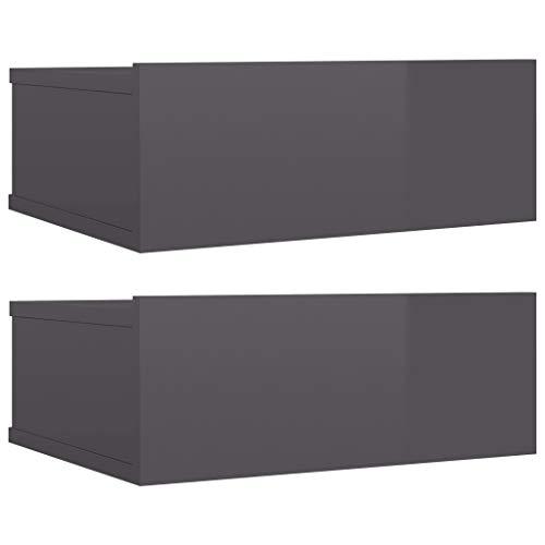 vidaXL 2X Nachttisch mit Schublade Hängend Nachtkommode Nachtschrank Nachtkonsole Wandboard Wandregal Hochglanz-Grau 40x30x15cm Spanplatte