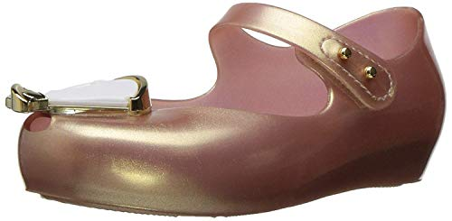 Mini Melissa Kids' Mini Ultragirl Beauty and the Beast Mary Jane Flat,Metallic/Pink,9 Regular US Toddler