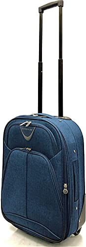 Ryanair, EasyJet, Jet2, Wizzair, BA and Many More Airlines Cabin Approved Super Lightweight Durable Expandable Carry-ons Hand Luggage Trolley 2 Wheeled Luggage Bag (18' Ryanair Cabin Size, Navy)