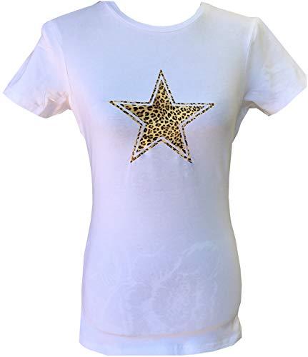 Whistling Dixie Wild Star T Shirt, con leopardo o Zebra Pattern Star Logo Stella Leopardo Bianco 38
