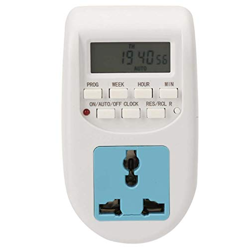 Temporizador de enchufe-Pantalla digital Enchufe de la UE Temporizador de enchufe de ahorro de energía preciso programable 220V