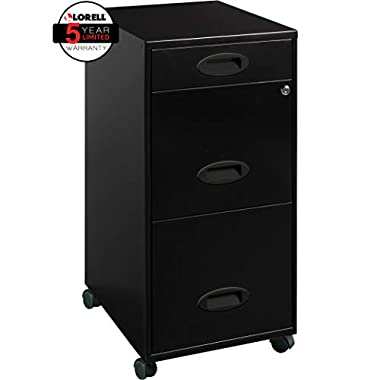 Lorell 17427 3-Drawer Mobile File Cabinet, 18 , 21.80  L x 18.00  W x 33.10  H, Black