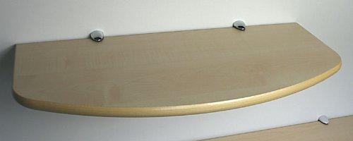 SET: Wandregal 59,5 cm Ahorn / Clip C325 chromfarben / konvex geschwungen