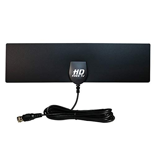 HD Free TV Antenna, Over Air Digital HDTV Amplified Indoor Outdoor Signal Booster, Long Range – Broadcast Smart Television in 1080p High Definition, Watch in Any Room, Easy to Install