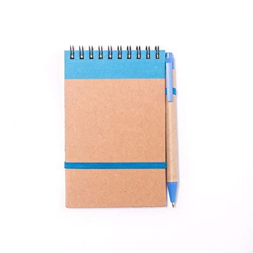 Projects Mini Notizblock mit Stift blau - Notizbuch klein liniert mit Gummiband Spiralbindung Hardcover Kugelschreiber | Bullet Journal Ringbuch Papier 80g/m² 70 Seiten | Notebook Paper lined