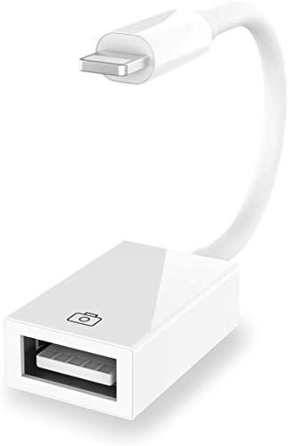 Lightn-ing to USB Camera Adapter,USB Female Adapter Otg Cable Adapter Support Camera Card Reader,MIDI Keyboard,USB Ethernet,Hubs Compatible with Phone/Pad,Support iOS 14 Before And After (white)