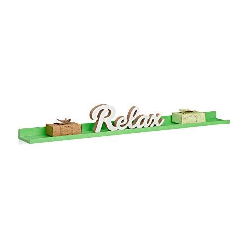 Relaxdays Estante Flotante Estrecho, Madera, Verde, 10x80x3.
