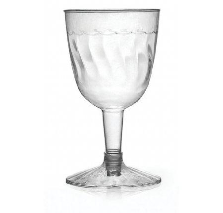 Juego de 20 copas de vino de plástico elegante, transparentes, 140 ml