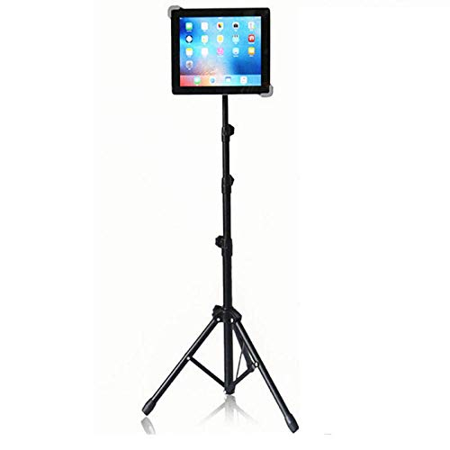 DGHJK Aluminum Alloy Floor Tablet Tripod Mount Stand,Height Adjustable 55-166cm/21.3-65.4in, Black Ipad Pro Bed Stand for Ipad 2 3 4 Mini Air Samsung Galaxy Lenovo Sony Lg Tesco Hudl Tablet Pc