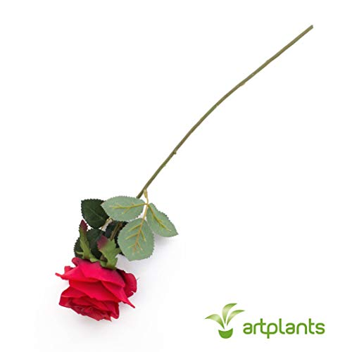 artplants.de Künstliche Rose Simony, rot, Textil, 45cm, Ø 8cm - Kunstblume - 5