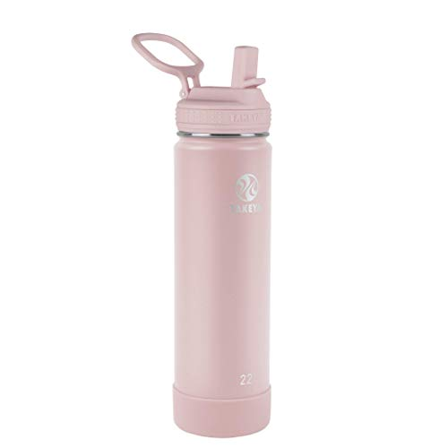 Takeya Actives Insulated Water Bottle w/Straw Lid, 22 Ounces, Blush