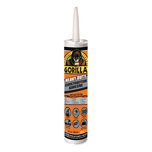 Gorilla Heavy Duty Construction Adhesive, 9 Ounce Cartridge, White, (Pack of 1)