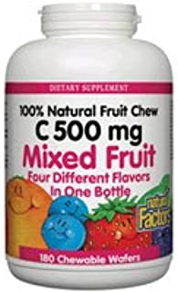 Natural Factors Vitamin c Mixed Fruit chewables 500mg 180 tabs (3-Pack)