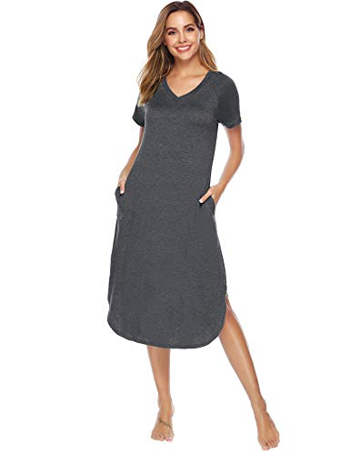 Aibrou Camisón Mujer Verano Pijama Casual Algodón Manga Corta Vestidos Mujer Ropa de Dormir Camisones Talla Grande S-XXL (S, Gris)