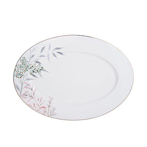 Mikasa 5200127 Alaya Bone China Plat de service ovale Blanc/assorti
