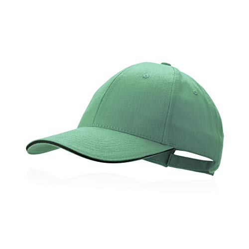 Makito Gorra verde béisbol padel golf gorra 6 paneles 100% algodón peinado cierre ajustable gorra unisex
