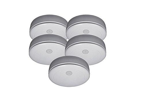 5er SET Rauchmelder mit 10 Jahres Batterie – Stummschaltfunktion - VdS Zertifiziert & Q-Siegel...