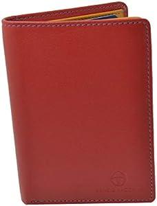 Sergio Tacchini, cartera de cuero genuino para hombres, resistente, con monedero con clip, delgado, tarjetero, interior multicolor Rosso Verticale vertical
