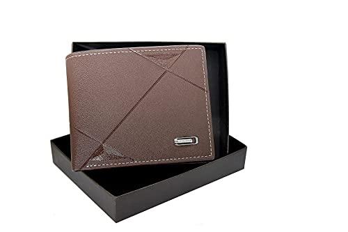 Cartera para Hombre Joven - Billetera de Piel con Bloqueo RFID para Tarjetas de crédito para Adolescente. (Marrón)