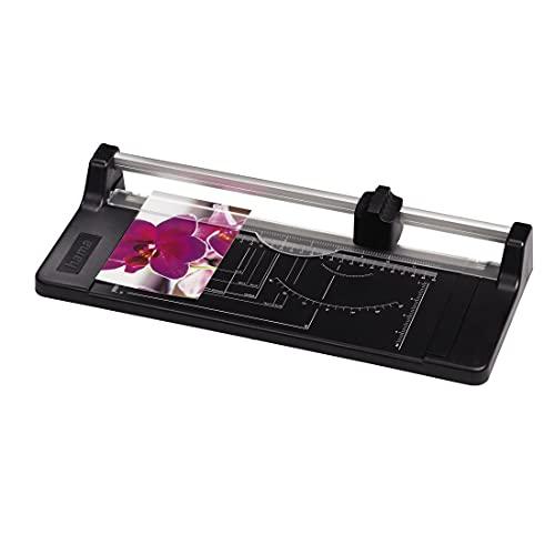 Hama Papierschneider mit Rollklinge (Schneidemaschine mit 5 Blatt Schneidleistung, Schneidegerät bis DIN A4, Rollenschneidemaschine für Papier, Folie und Fotos) schwarz