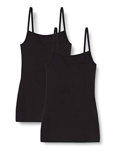 Marca Amazon - IRIS & LILLY Camiseta Interior Térmica Ligera de Tirantes para Mujer, Pack de 2, Negro (Black), S, Label: S