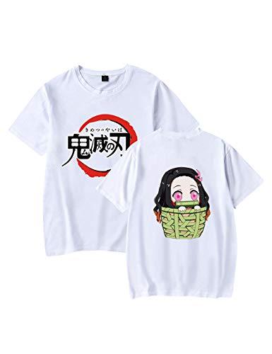 Camiseta Demon Slayer Kimetsu No Yaiba Anime Letter Print Camiseta de manga curta para adolescentes homens e mulheres, Branca, M