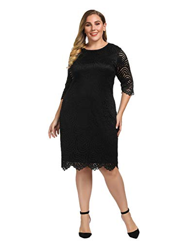 Chicwe Women's Plus Size Stretch Lined Lace Shift Dress - Knee Length Work Casual Party Cocktail Dress Black 3X