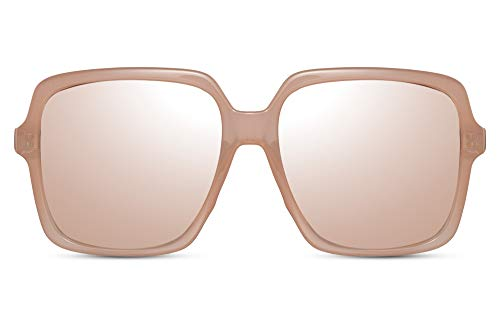Cheapass Gafas de Sol Oversize CuadradasMariposa Famosas Fashion Rosa Crema Gafas de Sol con Peach Graduales Cristales UV400 protegidas Mujeres