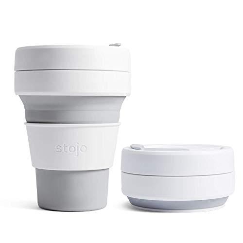 Stojo On The Go Kaffeetasse   Taschengröße, zusammenklappbarer Silikon-Reisebecher, Taubengrau, 355 ml