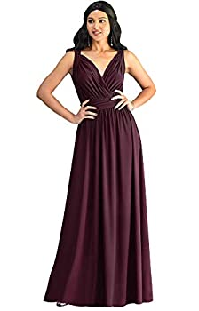 KOH KOH Womens Long Sleeveless Flowy Bridesmaids Cocktail Party Evening Formal Sexy Summer Wedding Guest Ball Prom Gown Gowns Maxi Dress Dresses Maroon Wine Red L 12-14