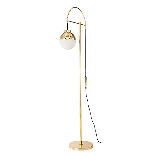 aipipl Lámparas de pie SuRose Lámpara de pie LED de Globo de Vidrio Esmerilado, lámpara de pie para Salas de Estar, luz de Poste Alto para Dormitorio, Oficina, luminaria de latón Antiguo, Arte de l