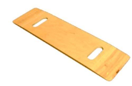 Hölzerne Krankentransporthilfe-Schiebeplatte, Zwei Ausgeschnittene Griffe unterstützen den Transfer des Patienten vom Rollstuhl ins Bett, in der Badewanne, in der Toilette, im Auto