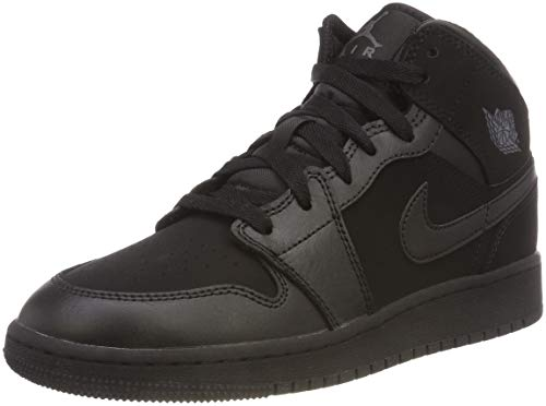 Nike Mädchen Boys' Air Jordan 1 Mid (Gs) Shoe Basketballschuhe, Schwarz (Black/Dark Grey/Black 050), 35.5 EU
