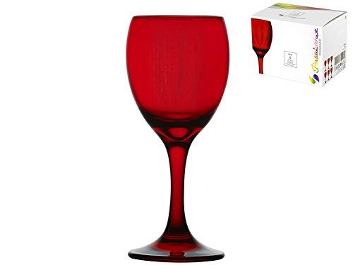 Pasabahçe - Juego de 6 copas para vino - Línea Optic - Color rojo - Capacidad 20 cl - Ideal para decorar su mesa - Modelo n. 5561520