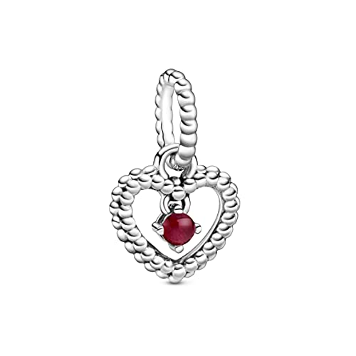 Heart sterling silver dangle with dark red crystal