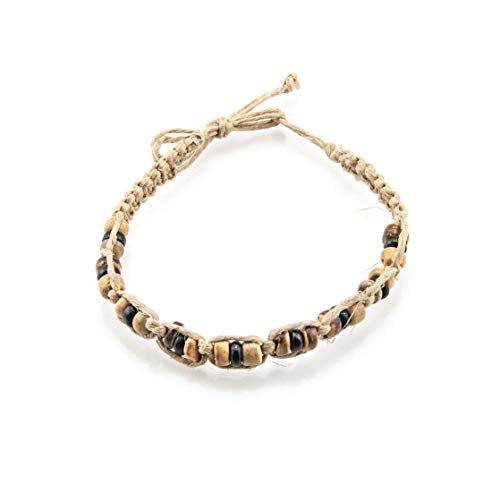 BlueRica Hemp Anklet Bracelet with Tiger and Black Coconut Wood Beads