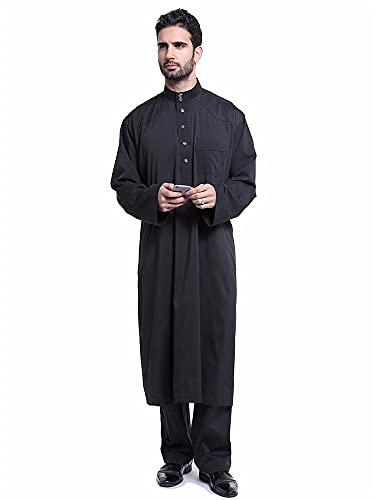 ドバイアラブイスラム教徒の男性ジュバトーブ服セットロングローブ2ピースセットトップスとパンツサウジムスルマンアンサンブルウェアセット (Color :