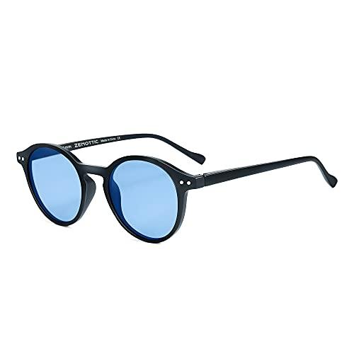 ZENOTTIC Gafas de sol Polarizadas Redondo Retrospectivo Clásico Retrospectivo Lentes de sol Marco UV400 Para hombres y mujeres (AZUL MATE AZUL)
