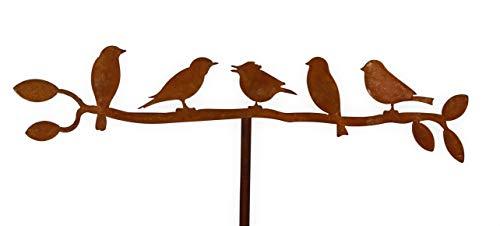 Edelrost Vögel auf Zweig Garten rostige Gartendeko Gartendekoration Metall Naturrost dekorieren Rost rostige Dekoration für den Garten Gartenstecker Beetstecker Topfstecker Landhaus (5er Vögel)