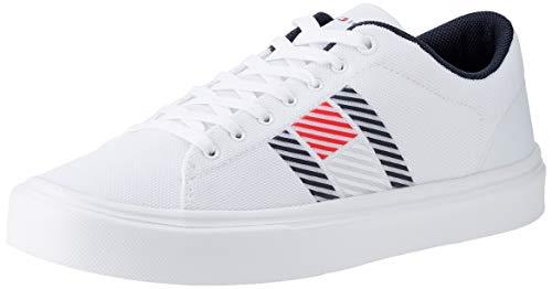 Tommy Hilfiger Lightweight Stripes Knit Sneaker, Zapatillas DE Punto Ligero Hombre, Blanco, 41 EU