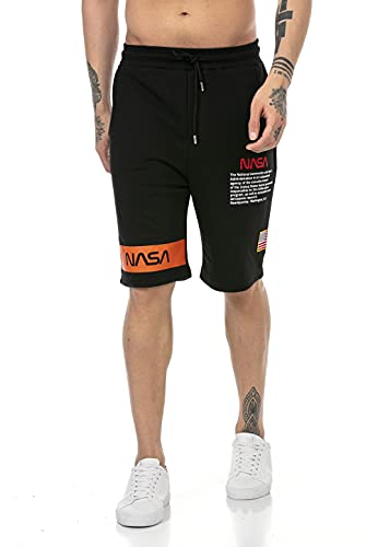 Red Bridge Herren Shorts Kurze Hose Sweat Pants Jogginghose NASA Logo USA Schwarz S