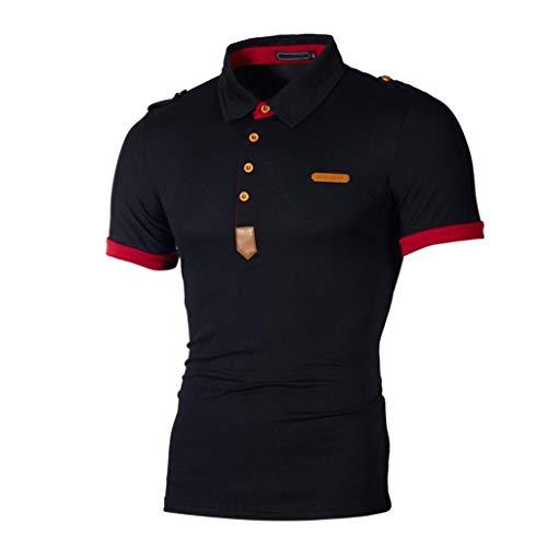 Aanbieding nieuwe Deals heren casual Ronamick modern shirt heren T-poloshirt T-shirt korte mouwen met polokraag effen