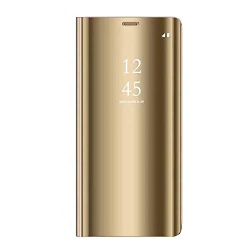 Caler Funda compatible con Samsung Galaxy S7 Edge, Funda con espejo, Cartera de cuero transparente de silicona con tapa, parachoques, Funda tipo folio dorado