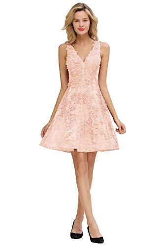 MisShow Damen elegant V Ausschnitt Perle Abendkleider Cocktailkleider Abschlusskleider Knielang Rosa 32