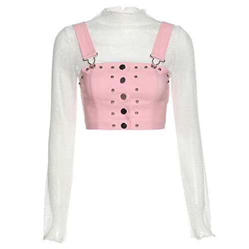 zrshygs Top Corto de Cuello Alto de Manga Larga de Encaje Transparente de 2 Piezas para Mujer con Chaleco de botón Rosa